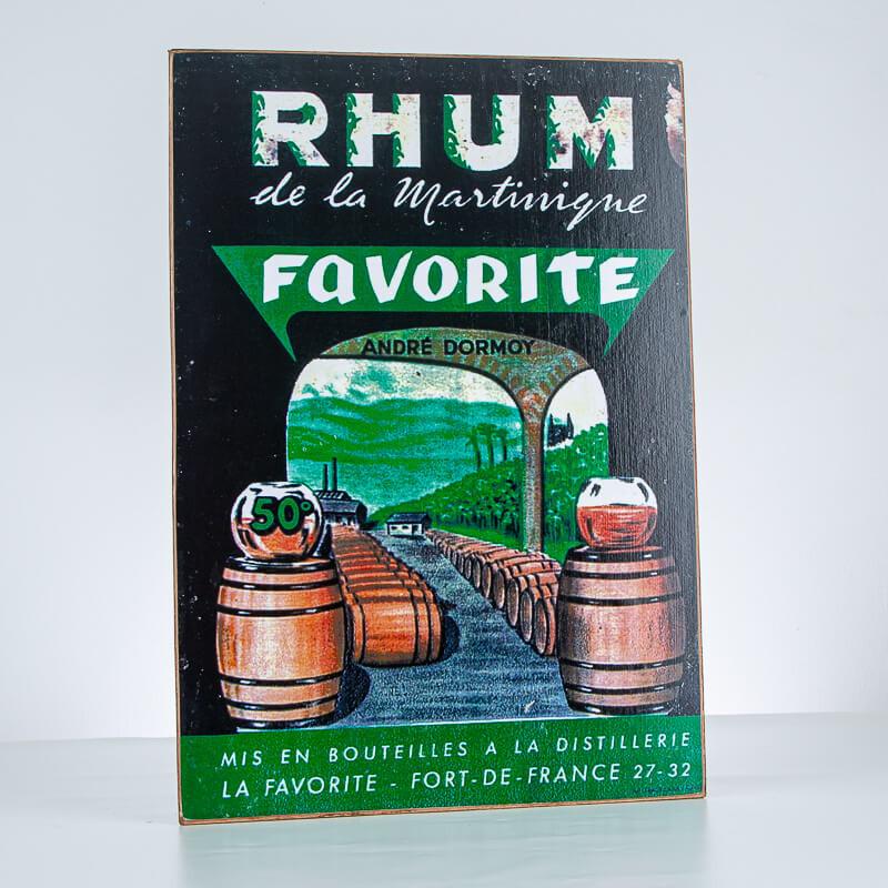 Rhum LA FAVORITE - Plaque décorative - Affiche vintage - Accessoire Rhum